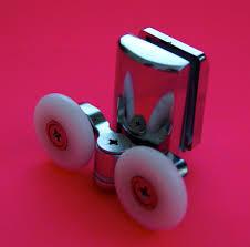 2 x twin bottom zinc alloy shower door rollers runners 25mm wheel