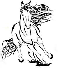tribal outline running horse tattoo design