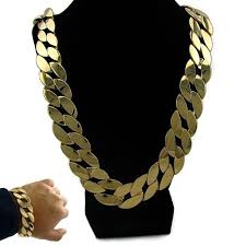 cuban chain necklace gold images Big miami cuban link 30 quot necklace gold finish 25mm thick chain jpg