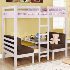 Loft Bed Bedroom Ideas White Wooden Loft Bed With Ladder And Brown Sofa With White Board