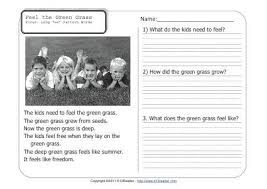 feel the green grass 1st grade reading comprehension worksheet wk 36
