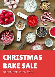 red and white christmas bake sale flyer templates by canva