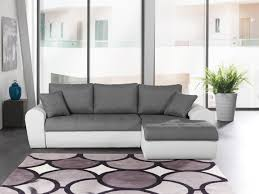 canapé d angle 200x200 canapé d angle convertible contemporain en tissu anthracite pu blanc