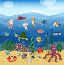 underwater ocean life hand drawn illustration under the waves