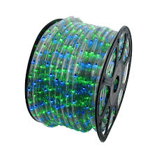 blue and green 150 chasing rope light spools 3 wire 120 volt