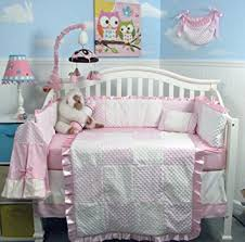 Nursery Bed Set New Pink Minky Dot Chenille Baby Crib Nursery Bedding