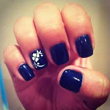 navy blue gel nails with white flower design nails pinterest