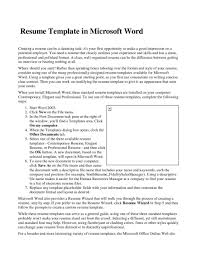 Create A Resume For Job by Curriculum Vitae Resume Template For Microsoft Word Resume For