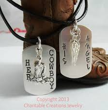 his and hers dog tags cowboy his angel sterling silver dog tag set his and