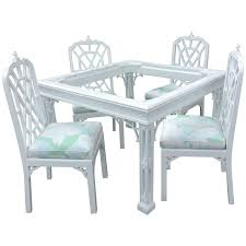 vintage four piece set of lacquered game dining table and chairs