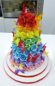 wedding cake with rainbow roses somewhere over the rainbow dotty