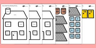 3times Table 3 Times Table Active Picture Building Activity House Maths
