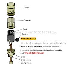 free shipping vintage lamp holder lamp socket keyless metal copper