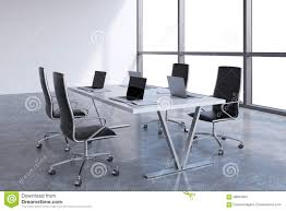 Modern Conference Room Tables by Modern Meeting Room With Huge Windows With Copy Space Black