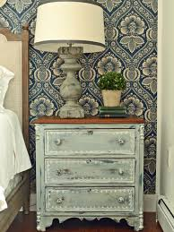 Rustic White Laminate Flooring Grey Wooden Nightstands Having Wooden Drawer And Brown Wooden Top
