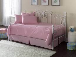 furniture white metal daybed with trundle having pink bedding