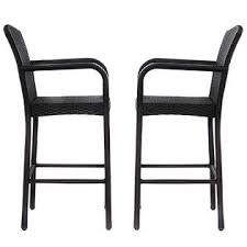 Bar Stool Patio Furniture Goplus Hw52954 2 Pcs Rattan Wicker Bar Stool Dining High Counter