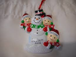 3 family snowman with people ornament personalized christmas