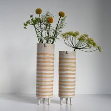 Tall Thin Vase Atelierstella U2014 Tall Thin Striped Vase Pair White