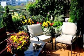 balcony garden design ideas complete with padded patio chairs and