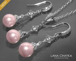 silver pink necklace images Light pink pearl earrings and necklace set sterling silver pink jpg