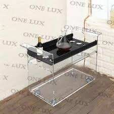 one lux kd packed lucite wine bar cart on wheels acrylic liquid