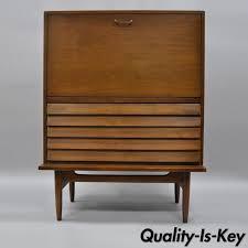 american of martinsville desk mcm modern walnut small secretary desk louvered drawers american of