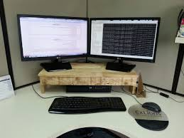 Computer Desk Tv Stand by Pallet Monitor Stand Makes Desks More Ergonomic U2022 1001 Pallets