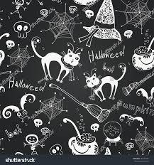 chalkboard seamless floral pattern halloween hand stock vector