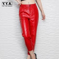 Real Leather Leggings Red Leather Pants Promotion Shop For Promotional Red Leather Pants