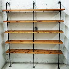 pipe and wood shelves black steel pipe shelving design whit