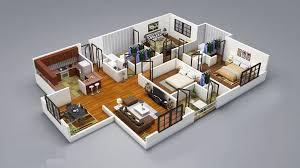 3 Bedroom House Plans 3D Design wood floor apartment House