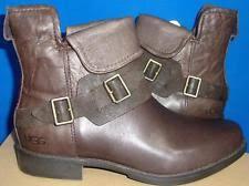 ugg bryce womens 1009177 blk ugg australia s cybele moto boot 9 5us brown lodge leather