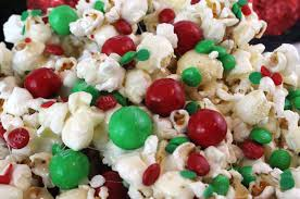 Christmas Party Treats - santa crunch popcorn two sisters crafting