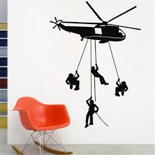 popular 3d wall stickers helicopter buy cheap 3d wall stickers helicopter wall stickers kids boys bedroom decor 4 army solider mural black sale free shipping ws113