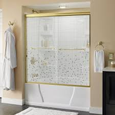 frosted bathtub doors bathtubs the home depot crestfield 60 in x 58 1 8 in semi frameless sliding