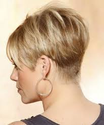 wedge haircuts front and back views short straight formal hairstyle with layered bangs light