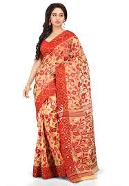 jamdani sharee handloom cotton silk jamdani saree in beige and srga644