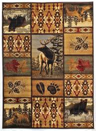 Area Rugs For Cabins Amazon Com Rugs 4 Less Collection Wilderness Nature Themed Cabin