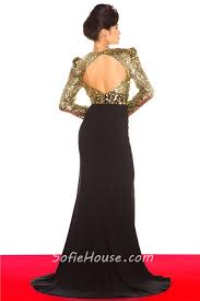 v neck long sleeve gold sequin black chiffon evening prom