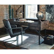 Home Office Desks Modern Rustic Industrial Home Office Desk With Steel Base By