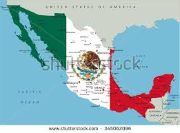 political map of mexico mexico highly detailed political map national stock vector