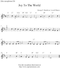 joy to the world free christmas alto saxophone sheet music notes