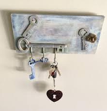 rustic key holder shabby chic key rack vintage painted wall hooks