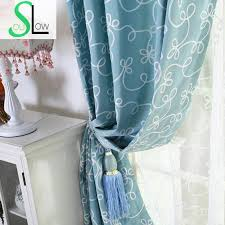 Blue And White Floral Curtains Soul Blue Green Pink White Fresh Embroidered Curtain Pastoral