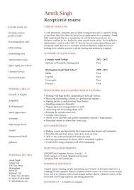 Resume Templates For Receptionist Position Sample Resume For Front Office Receptionist Desk Front Office