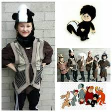 Skunk Halloween Costumes Upcycled Peter Pan Costumes Custom Skunk Lost Boys Costume