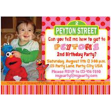 girly pink elmo u0026 sesame street birthday invitation custom