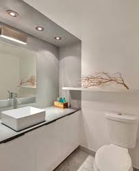calm design modern minimalist bathroom with big mirror in white