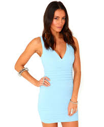 missguided leena bandage bodycon dress in baby blue in blue lyst